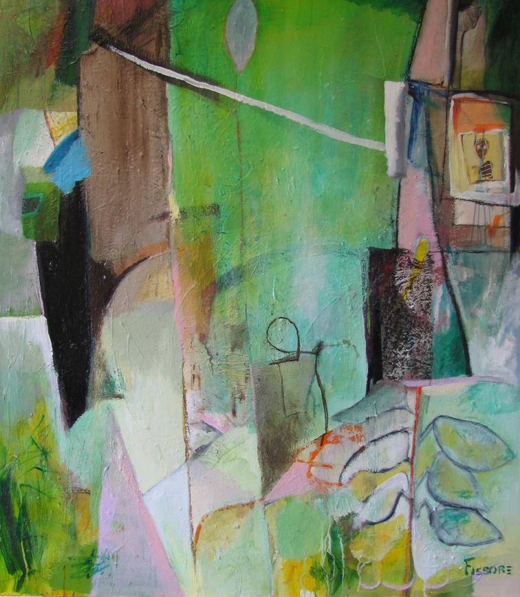 Philippe Fissore. A la fenêtre; Technique Mixtes. 122 x 107 cm 2012