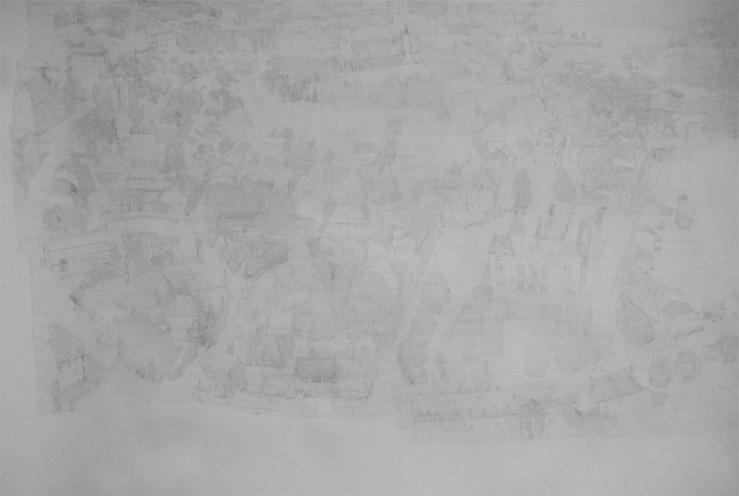 Zhu Hong. Poussières 1890. Dessin au crayon sur papier canson épais. 360 x 280 cm. 2008