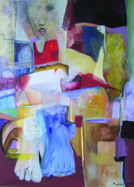 "Philippe Fissore ""Blue Foot"" Technique mixte 170 x 120 cm 2015"