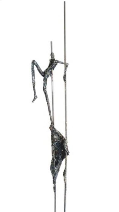 """CAMA """"Le Rêve de l'Equilibriste"""" Modelage à l'arc sur acier environ 190 x 40 cm 2015"""