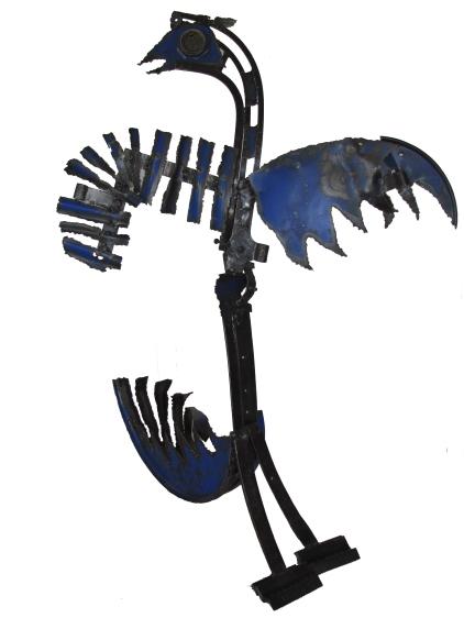 """Féfé """"Le phoenix"""" Métal de récupération, fer forgé, soudé et poli 140 x 120 x 90 cm. 2010"""